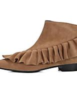 preiswerte -Damen Schuhe Echtes Leder Nubukleder Frühling Herbst Komfort Stiefeletten Stiefel Block Ferse für Normal Schwarz Braun