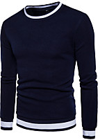 cheap -Men's Petite Daily Casual Hoodie & Sweatshirt Solid Striped Round Neck Micro-elastic Polyester Long Sleeve Winter Fall
