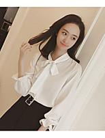 preiswerte -Damen Solide Anspruchsvoll Freizeitskleidung Hemd,Halter Langarm Baumwolle