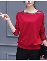 cheap -Women's Daily Casual Fall T-shirt,Print U Neck Long Sleeve Cotton Opaque
