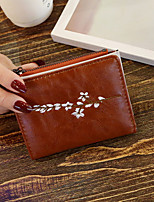 cheap -Women's Bags PU Wallet Embroidery for Shopping Casual All Seasons Wine Coffee Blushing Pink Black Green