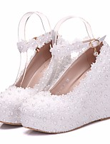 cheap -Women's Shoes Lace Spring Fall Comfort Heels Wedge Heel for Casual White Pink