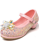 cheap -Girls' Shoes PU Spring Fall Flower Girl Shoes Novelty Comfort Flats Crystal Buckle for Wedding Party & Evening Gold White Silver Blue Pink