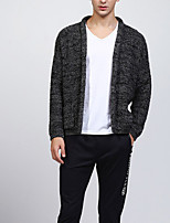 cheap -Men's Daily Casual Regular Cardigan,Print V Neck Long Sleeves Polyester Winter Fall Opaque Micro-elastic