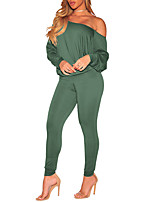 cheap -Women's Daily Going out Vintage Casual Sexy Fall Set Pant SuitsSolid One Shoulder Long Sleeve Sexy Polyester Micro-elastic