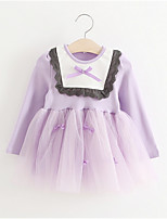 cheap -Baby Girl's Birthday Solid Dress, Polyester Simple Long Sleeves Lavender