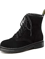 Недорогие -Жен. Обувь Полиуретан Зима Осень Удобная обувь Ботинки На низком каблуке Закрытый мыс Ботинки для Повседневные Черный Коричневый