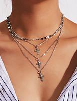 abordables -Femme Croix Mode Multicouches Collier multi rangs , Alliage Collier multi rangs , Anniversaire Quotidien Cérémonie Soirée