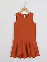 cheap -Girl's Daily Solid Dress,Cotton Summer Sleeveless Vintage Orange