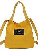 Недорогие -жен. Мешки Полотно Сумка-шоппер Аппликации для Повседневные Все сезоны Белый Черный Красный Розовый Желтый