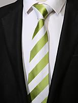 cheap -Men's Polyester Necktie,Casual Striped All Seasons Green