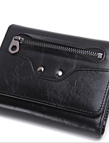 cheap -Men Bags Cowhide Wallet Buttons Zipper for Casual All Season Red Black
