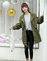 economico -Impermeabile Da donna Quotidiano Casual Inverno Autunno,Tinta unita Colletto Cotone Standard Maniche lunghe