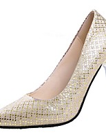 cheap -Women's Shoes PU Spring Comfort Heels Stiletto Heel Pointed Toe for Casual Silver Black Gold