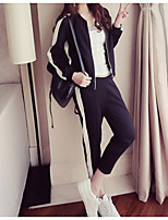 cheap -Women's Daily Simple Spring Hoodie Pant Suits,Print Round Neck Long Sleeve Oversized Polyester Micro-elastic