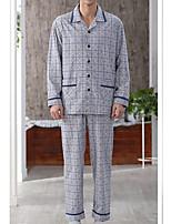 abordables -Costumes Pyjamas Homme Moyen Coton Bleu Gris