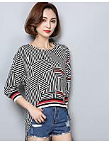 economico -T-shirt Da donna Casual Moda città A strisce Rotonda Cotone