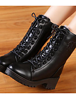 cheap -Women's Shoes PU Winter Fall Combat Boots Comfort Boots Chunky Heel Mid-Calf Boots for Casual Black Brown Wine