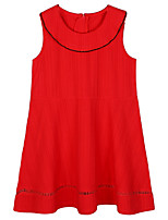 cheap -Girl's Solid Dress Summer Cute Red