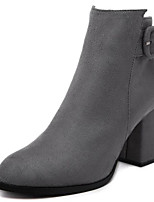 cheap -Women's Shoes Nubuck leather Winter Fall Comfort Bootie Boots Chunky Heel for Casual Gray Black