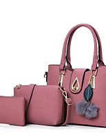cheap -Women Bags PU Polyester Bag Set 3 Pcs Purse Set Buttons Zipper for Casual All Season Wine Dark Grey Blushing Pink Black Blue