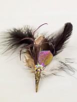 baratos -Bouquets de Noiva Alfinetes de Lapela Decoração de Cabelo Broches e Alfinetes Casamento Festa/Eventos Penas de Ganso Penas 1 polegadas