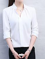 abordables -Chemisier Femme,Couleur Pleine Quotidien Décontracté Printemps Manches longues Col de Chemise Coton