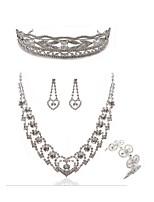 abordables -Mujer Tiaras Los sistemas nupciales de la joyería Cristal Europeo Moda Boda Fiesta Diamante Sintético Legierung Forma Geométrica Mariposa