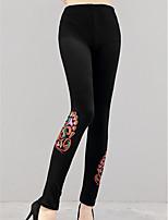 preiswerte -Damen Dick Polyester Blumen Bedruckt Legging,Schwarz