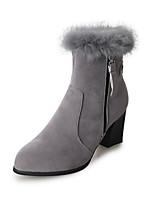 preiswerte -Damen Schuhe Nubukleder Frühling Herbst Stiefeletten Komfort Stiefel Blockabsatz für Normal Schwarz Grau