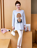 cheap -Women's Casual/Daily Street chic T-shirt,Print Round Neck Long Sleeves Cotton