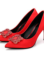 cheap -Women's Shoes Silk Spring Fall Basic Pump Heels Stiletto Heel Pointed Toe Rhinestone for Wedding Party & Evening Black Red