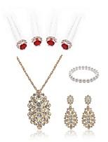 preiswerte -Damen Strang-Armbänder Braut-Schmuck-Sets Strass Europäisch Modisch Hochzeit Party Künstliche Perle Diamantimitate Aleación Blume