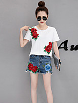 cheap -Women's Daily Casual Summer T-Shirt Pant Suits,Floral Round Neck Short Sleeve Pure Color Polyester Micro-elastic