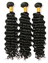 cheap -Brazilian Curly Human Hair Weaves 3 Pieces 0.3