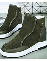 cheap -Women's Shoes Suede Winter Fall Snow Boots Boots Flat Heel Round Toe Booties/Ankle Boots for Casual Green Gray Black