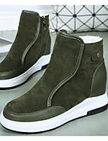 Недорогие -Для женщин Обувь Замша Зима Осень Зимние сапоги Ботинки На плоской подошве Круглый носок Ботинки для Повседневные Черный Серый Зеленый