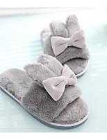Недорогие -Для женщин Обувь Бархатистая отделка Зима Осень Удобная обувь Тапочки и Шлепанцы На плоской подошве для Повседневные Черный Серый