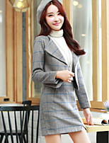 cheap -Women's Daily Going out Casual Winter Fall Blazer Skirt Suits,Houndstooth Shirt Collar Long Sleeve Stripe Polyester Micro-elastic