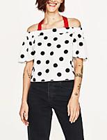 cheap -Women's Polyester Shirt - Polka Dot Boat Neck