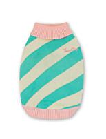 economico -Cane Maglioncini Gilè Abbigliamento per cani Casual Tenere al caldo Rigato Verde Blu Rosa Costume Per animali domestici
