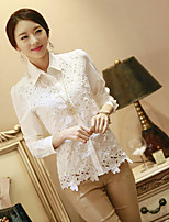 cheap -Women's Casual/Daily Street chic Shirt,Solid Shirt Collar Long Sleeves Cotton Polyester