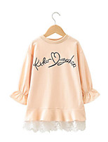 cheap -Girl's Daily Print Dress,Cotton Polyester Spring Long Sleeves Simple Beige