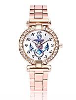 baratos -Mulheres Simulado Diamante Relógio Relógio Elegante Relógio de Pulso Chinês Quartzo Relógio Casual Lega Banda Casual Prata Dourada Ouro
