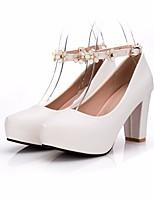 Недорогие -Жен. Обувь Искусственное волокно Весна Осень Удобная обувь Обувь на каблуках На толстом каблуке для Повседневные Белый Черный Лиловый
