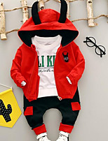 preiswerte -Kinder Kleidungs Set Alltag Solide Polyester Frühling Langarm Schwarz Rote