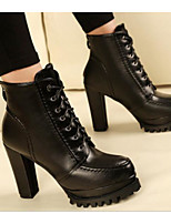 cheap -Women's Shoes PU Winter Fall Comfort Fashion Boots Boots Chunky Heel Booties/Ankle Boots for Casual Black