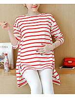 cheap -Women's Casual/Daily Cute T-shirt,Striped Round Neck Long Sleeves Cotton