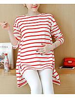 economico -T-shirt Da donna Casual Romantico A strisce Rotonda Cotone Manica lunga