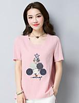 economico -T-shirt Da donna Per uscire Fantasia geometrica Rotonda Cotone Manica corta